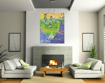Green city, Pittsburgh art, Pittsburgh skyline, abstract art, Pittsburgh artist, by Johno Prascak, Johnos Art Studio