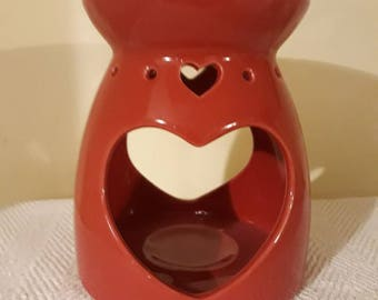 Wax Melt Burner Red, Heart Shape opening, with one tealight