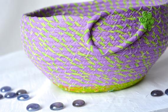 Ultra Violet Bowl, Handmade Napkin Holder, Knitting Yarn Basket, Artisan Lavender Fabric Basket, Modern Chic Fabric Bowl, Coiled, Quilted