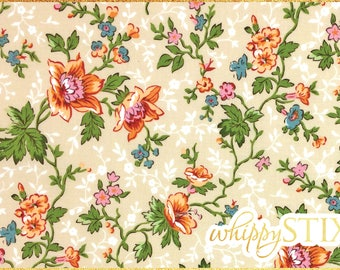 Flower Vine Fabric By the Yard, Romance de Paris Le Rouvray 612 Makower UK OOP BTY Paris France Floral Cotton Quilting Material Hard to Find