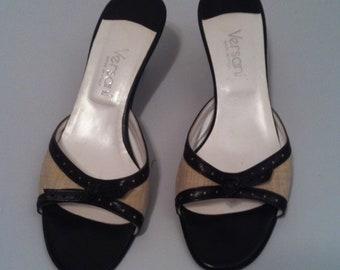 Versani Kitten Heels, Versani Brown and Tan Heel Mule Slides