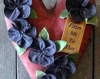 PDF  E Pattern INSTANT DOWNLOAD Primitive Heart and Violets Hanger