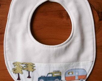 Sale, CAMP SUR Baby Bib; River Camping Newborn Baby Bib; Organic Cotton Teething Bib; Modern Drool Bib Boy, Girl; Handmade Baby Shower Gift