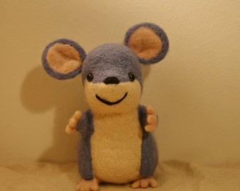 Blue Needle Felted Mouse