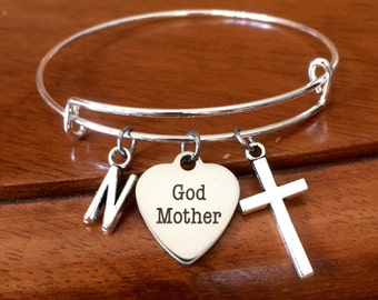 God mother gift, personalised god mother bracelet, god mother jewellery, god mother jewelry, expandable bangle