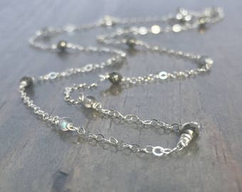 Gemstone Station Necklace - By the Yard Necklace - Delicate Silver or Gold Necklace- Labradorite Necklace - Station Necklace