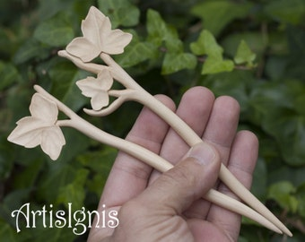 "Hair Stick Pair ""Ivy Leaves"", Handmade Wood Hair Sticks, Handcarved Ivy Leaf Hair Accessories - MADE TO ORDER"