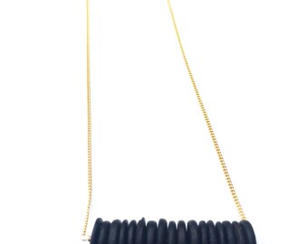 Black Vintage Bead Bar Necklace