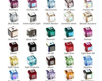 12 Swarovski® Crystal faceted cube 4x4mm Beads 5601, 12 faceted cube swarovski crystal 5601 beads 4x4mm, swarovski faceted cube beads 5601.