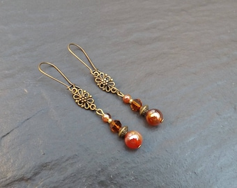 "Earrings ""fire"" carnelian and amber Crystal beads"