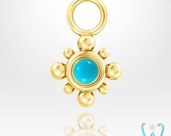 14K Tiny Turquoise Beaded - Hoop Earring Charm