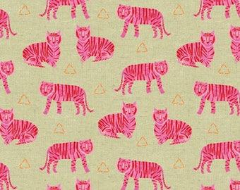 Andover - Tiger Plant COTTON/LINEN - Tigers - Fuchsia