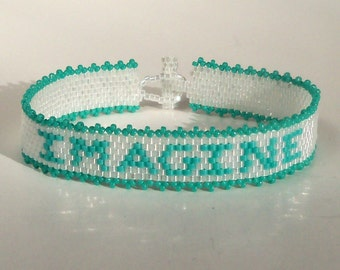 Custom Affirmation Bracelet Pattern - Imagine - Peyote Pattern
