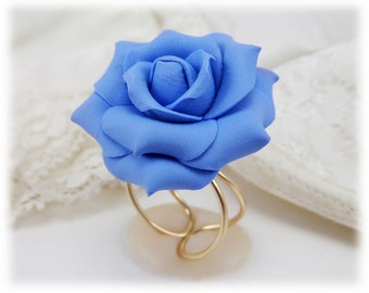Large Blue Rose Ring - Blue Rose Jewelry, Blue Flower Ring