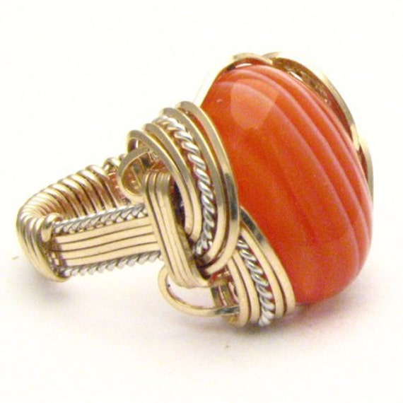 Handmade Wire Wrap Two Tone Sterling Silver/14kt Gold Filled Red and White Sardonyx Ring