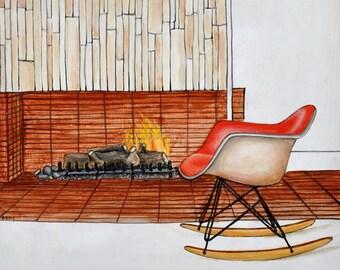 Eames Rocker Art, Midcentury Chair Print, Midcentury Modern Print, Eames Chair Print, Modern Chair Art, 8 x 8 Art Print, Modern Fireplace