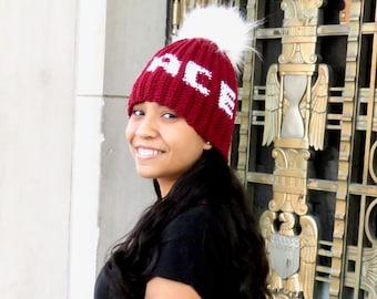 Peace Pom Pom Hat, Crochet Pom Pom Hat, Peace,Tam Hat, Crochet Hat, Color is Crandberry,