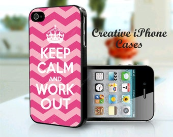 Keep Calm and Work Out phone case fits iPhone 4/4s/5/5s/5c, iPhone 6, iPhone 6 plus, iPod Touch 4 or 5, Samsung Galaxy S5/s4/s3