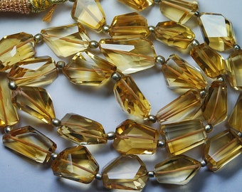 14 Inch Strand,Superb-Finest Quality Golden CITRINE Step Cut Faceted Nuggets,11-13mm size,Great Item