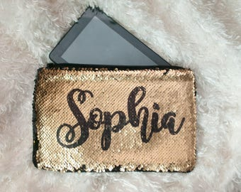 Personalized sequin ipad case, cute custom two tone mermaid makeup bag, teen, kids,  gifts for her, back to school
