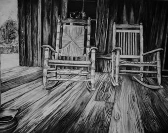 Porch #6 Charcoal Drawing LIMITED EDITION Fine Art Print, Front Porch Rocking Chairs 13X9