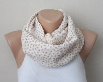 gossamer cream orange followering infinity scarf  cotton fabric loop scarf