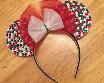 Red and Green Sparkle Christmas Minnie Ears Headband
