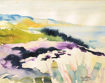 Original Watercolor Painting of Cambria Landscape and seascape on Watercolor paper