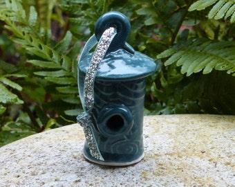 Porcelain birdhouse ornament