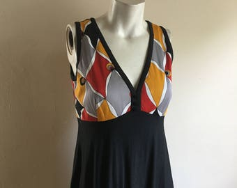 Vintage 60s MOD Black Maxi Dress