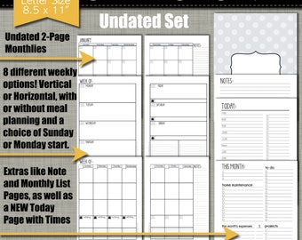 """NEW! UNDATED Printable Monthly Planner - Simplistic Design - Sized Large 8.5"""" x 11"""" PDF"""