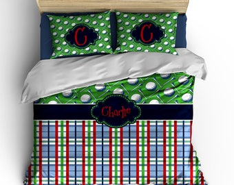 Custom Golf Balls & Preppy Plaid Bedding Set -available in all sizes