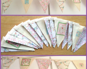 SALE Wedding Engagement Bunting 15 Large Flags over 9ft Anniversary Celebration Banner