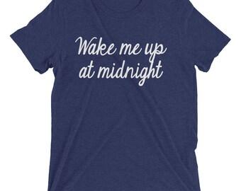 New Years T Shirt Wake Me Up At Midnight Short sleeve t-shirt, Happy new year shirt, 2018 shirt, funny new years shirt, new year 2018
