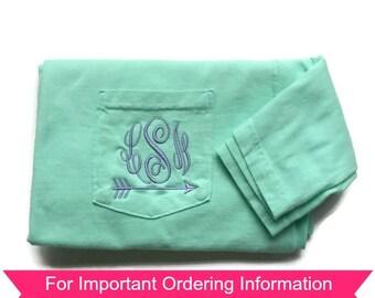 Monogram Shirt , Arrow Shirt, Comfort Color, Sorority Shirt, Cross Country Shirt, Running Shirt, Gift For Her, Personalized Gift For Her