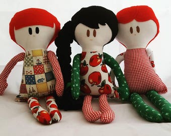 Handmade dolls, rag dolls, softies, birthday gift for girl, bedroom decor, nursery decor, baby shower