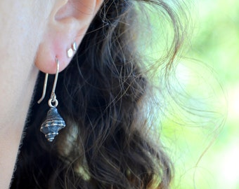 Seashell Earrings, Conch Shell Earrings, Sterling Silver Dangle Earrings, Drop Earrings, Textured, Oxidized, Beach Jewelry, Handmade