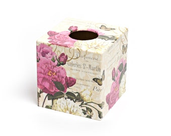 Paris Rose Tissue Box Cover cube wooden perfect in homes/ hotels