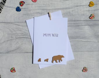 Pappa bear paper cut card-white, father's day card, dad card, paper cut, cards for him, cards for dad, cards for new dad, free P&P