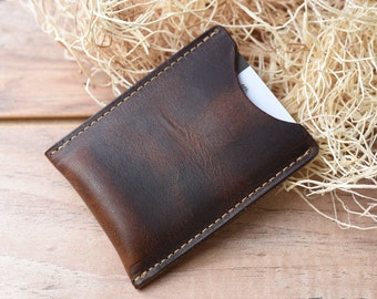 Leather Card Sleeve, Groomsmen gift wallet, Minimalist Wallet, Awesome groomsmen gift, Front pocket wallet