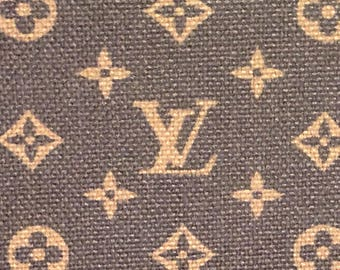 Free Shipping in US LV Louis Vuitton Inspired  Cotton Linen  Upholstery Pink or Brown Red Black Classic Monogram  Fabric 1 Yard