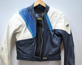 Vintage IXS WOMEN'S leather biker jacket , motorcycle jacket , small size ....(117)