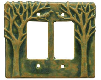 Trees & Birds Double Rocker Ceramic Light Switch Cover in Green Ocher Glaze