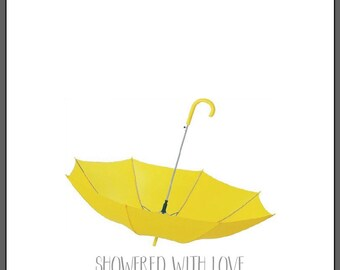 A4 Showed With Love Personalised Finger Print Umbrella Baby Shower