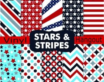 Pattern Vinyl, Stars and Stripes, Printed Vinyl, Adhesive Outdoor 651 Vinyl, HTV, Heat Transfer Vinyl, Iron On Vinyl, Patriotic Vinyl, Stars