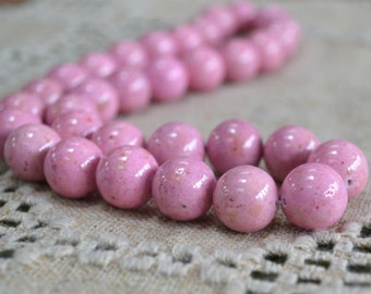 33pcs 12mm Riverstone Pink Gemstone Beads Round 16 Inches Strand