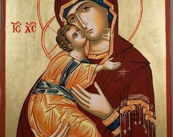 Virgin of Vladimir Madonna Hand-Painted Russian Byzantine Icon on Wood 35 x 24cm