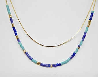 Minimalist Necklace, Beaded Necklace, Boho, Gold,Delicate Bead Necklace, Layering Necklace, Blue And Gold Necklace, Gift For Woman