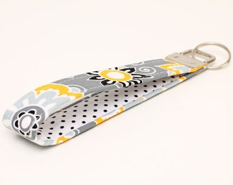 Gray Keychains, Floral Key Fob, Fabric Key Chain Wristlet, Handmade Gift Key Wristlet, Women's Key Holder - gray yellow floral white dots