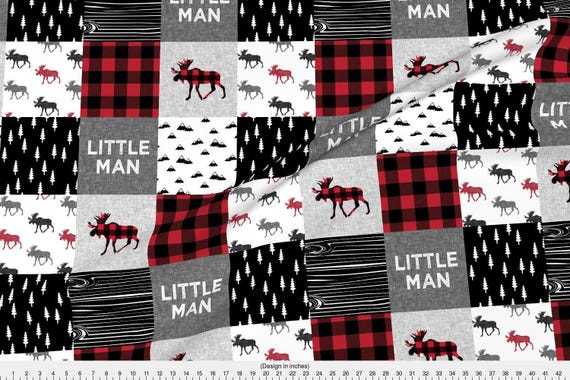Red rustic cheater quilt fabric little man patchwork quilt